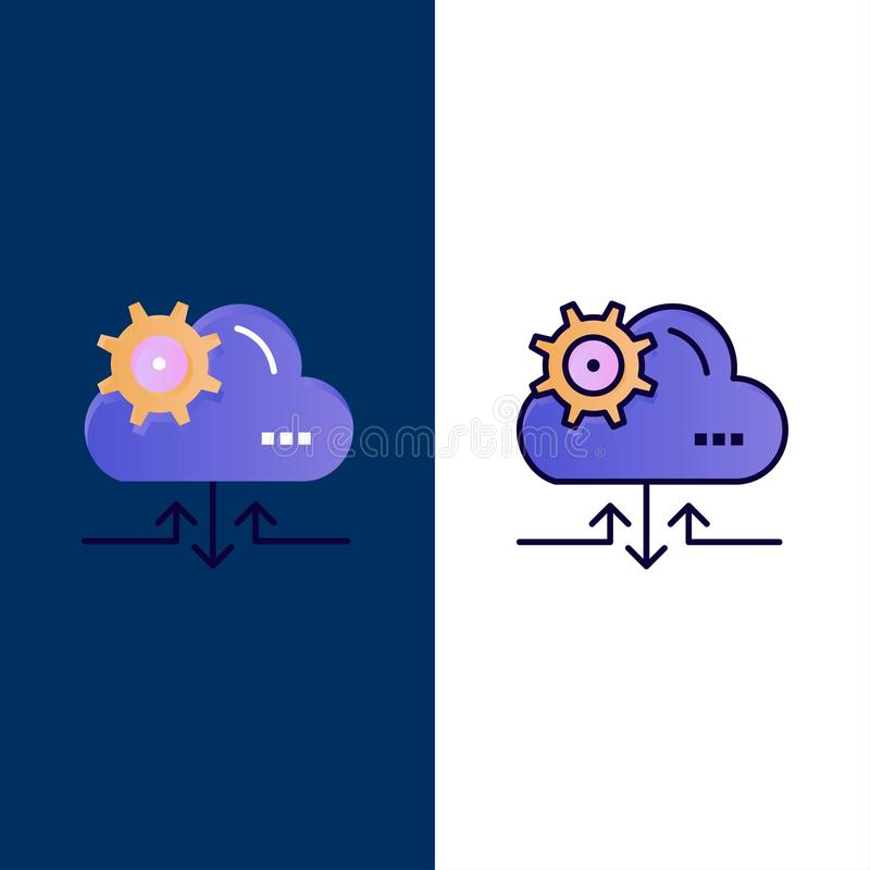 Cloud, Setting, Gear, Arrow  Icons. Flat and Line Filled Icon Set Vector Blue Background vector illustration