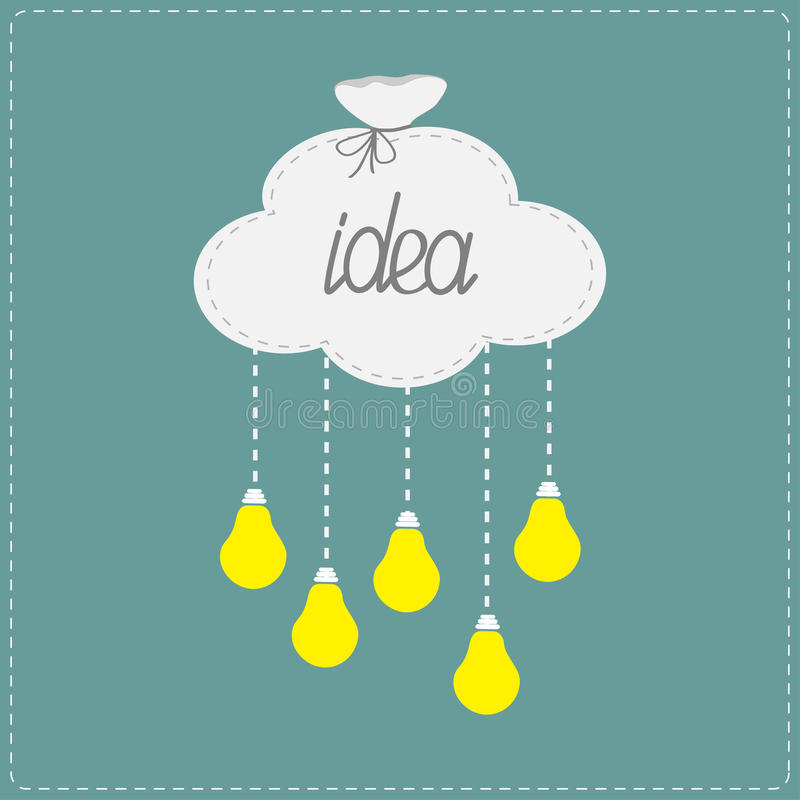 Cloud in shape of bag and hanging light bulbs. Innovation idea concept. Flat design vector illustration