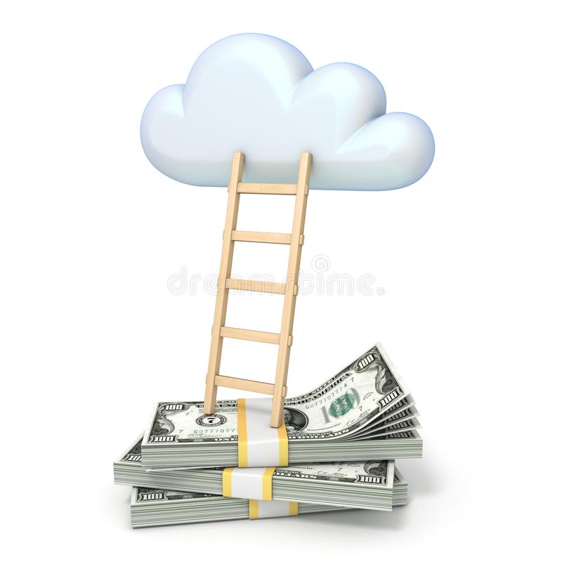 Cloud shape and ladder over dollars banknotes 3D stock illustration