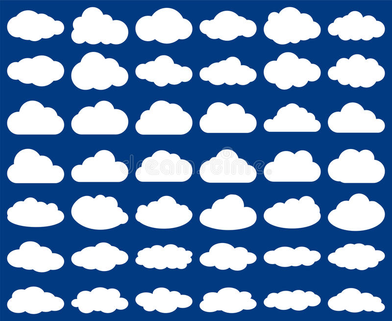 Cloud shape. Vector set of clouds silhouettes isolated on blue vector illustration