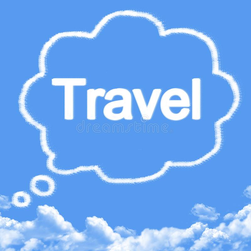 Cloud shaped as Dream travel. On blue sky vector illustration