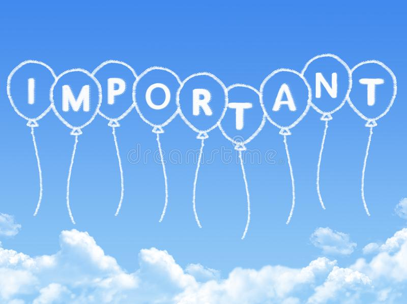 Cloud shaped as important Message. On blue sky stock illustration