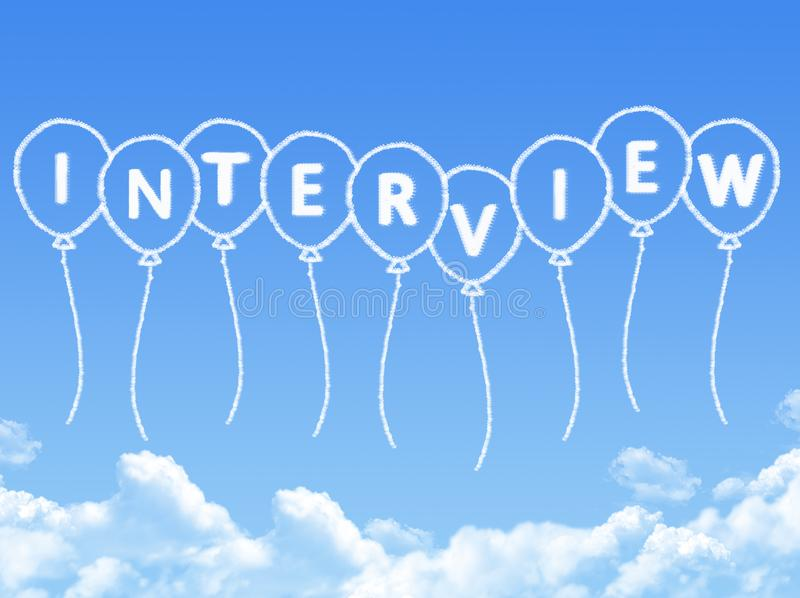 Cloud shaped as interview Message. On blue sky royalty free illustration