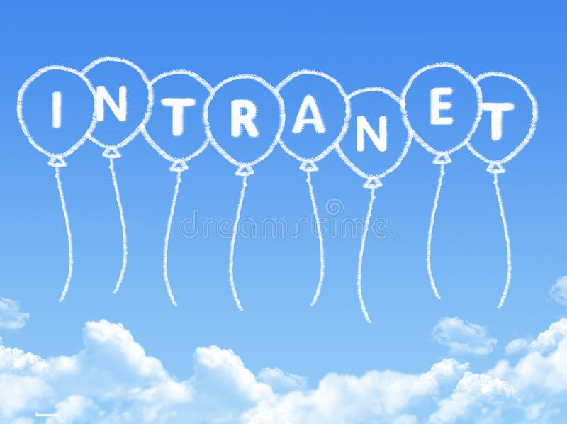 Cloud shaped as intranet Message. On blue sky vector illustration