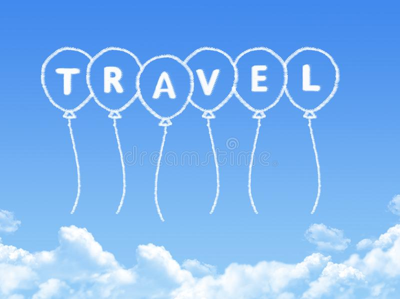 Cloud shaped as travel Message. On blue sky stock illustration
