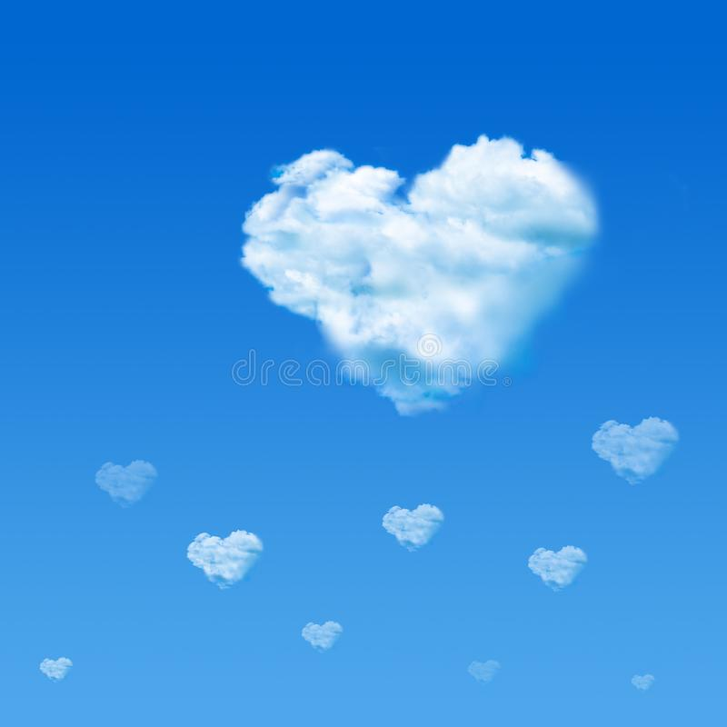 Cloud shaped heart in blue sky. Valentine`s Day concept. Background sign signal romance stock photos