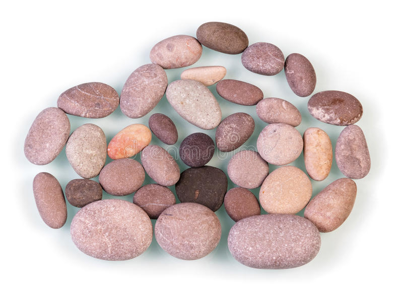 Cloud shaped sign. Pebble stones cloud shaped sign isolated on white stock image