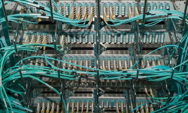 Cloud shared optical fiber patchfield in a data center royalty free stock photos