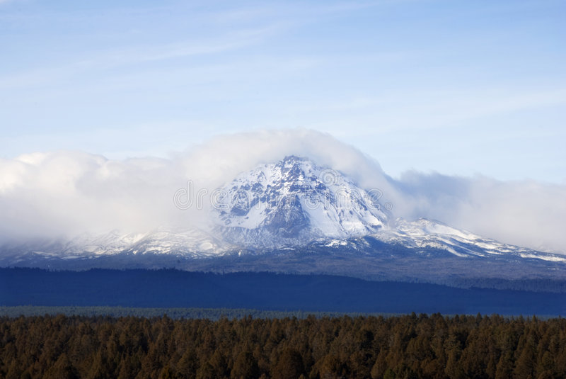 Cloud Shrouded South Sister - Cascades royalty free stock photo
