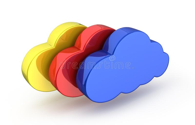 Cloud sign illustration Colorful clouds in blue on white background 3d. Cloud sign illustration Colorful clouds in blue on white background vector illustration