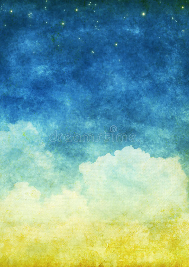Cloud and sky. On an old grunge paper stock photography