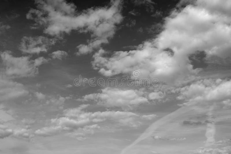 Cloud sky background. Cloud sky, may be used as background. Black and white stock photography