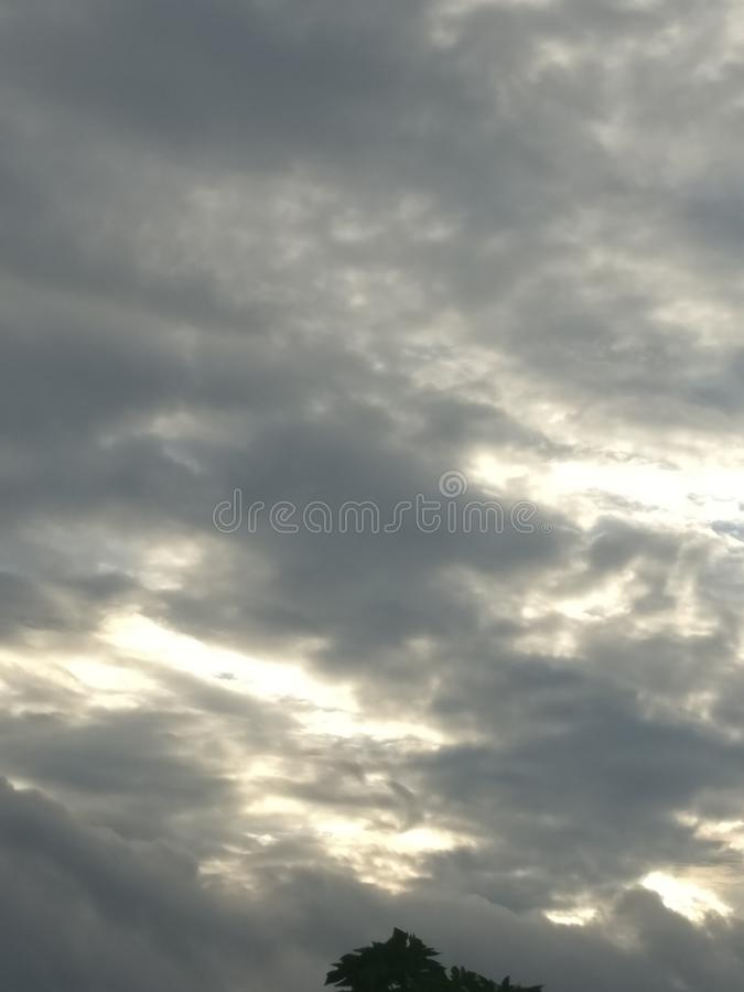Cloud in the sky is beautiful view of the evening. Gray, cloud, inthe, treeof, thesky stock photography