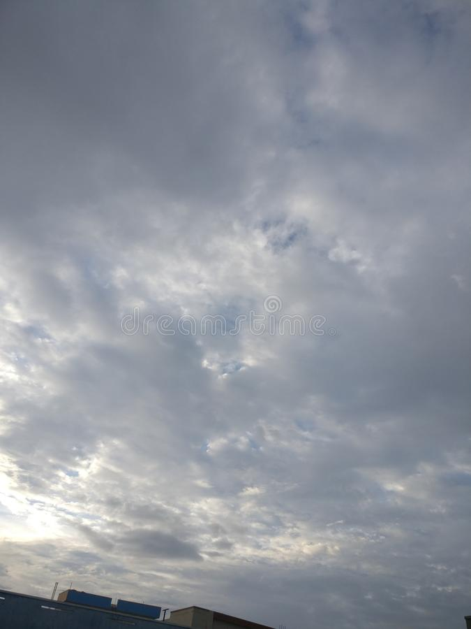 Cloud in the sky is beautiful view of the evening. Gray, cloud, inthe, treeof, thesky royalty free stock images