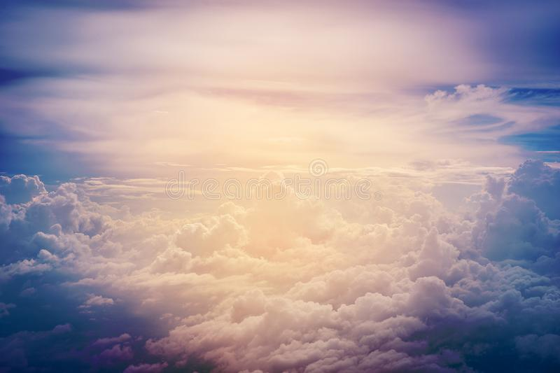 Cloud in sky. Fluffy of cloud in sky, bird eye view royalty free stock photos