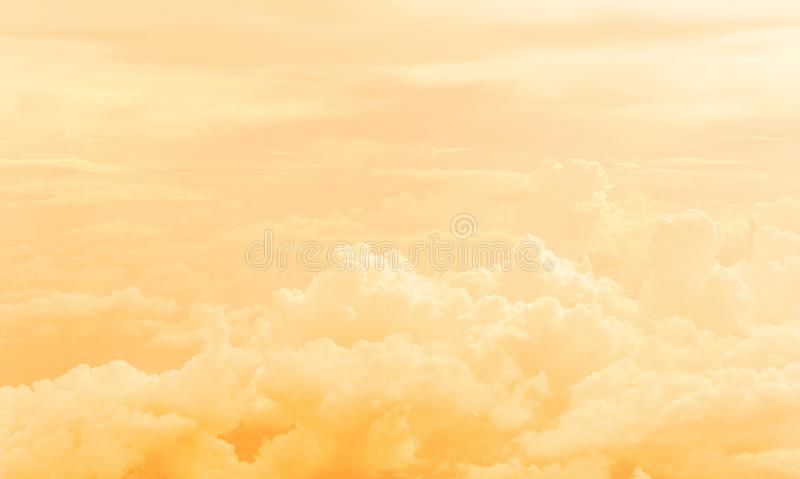 Cloud in sky. Fluffy of cloud in golden sky stock images
