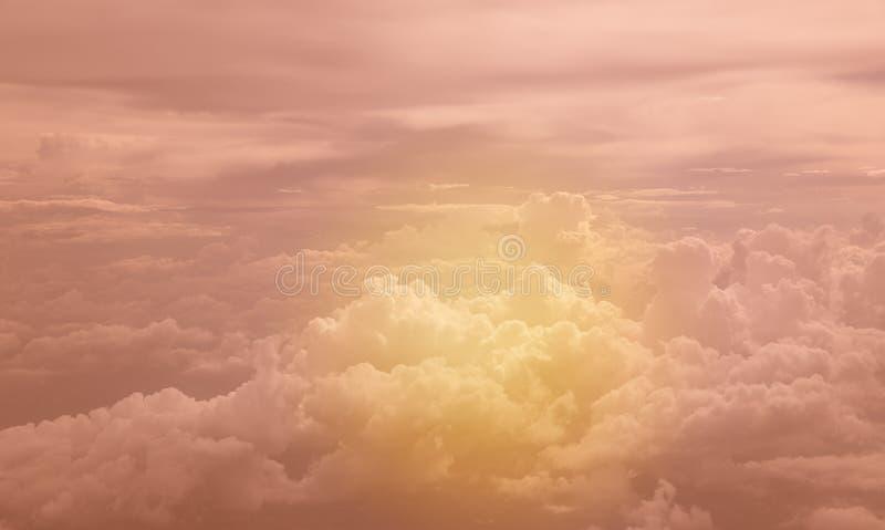 Cloud in sky. Fluffy of cloud in golden sky stock photo