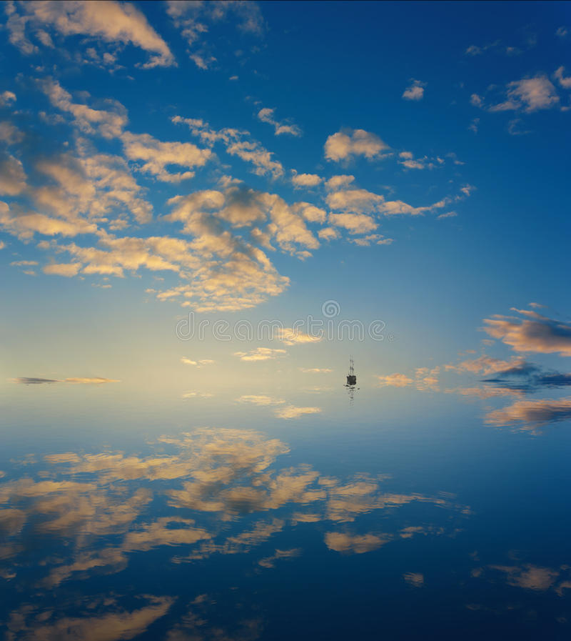 Download Cloud sky mirror in sea stock image. Image of ship, abstract - 24999591