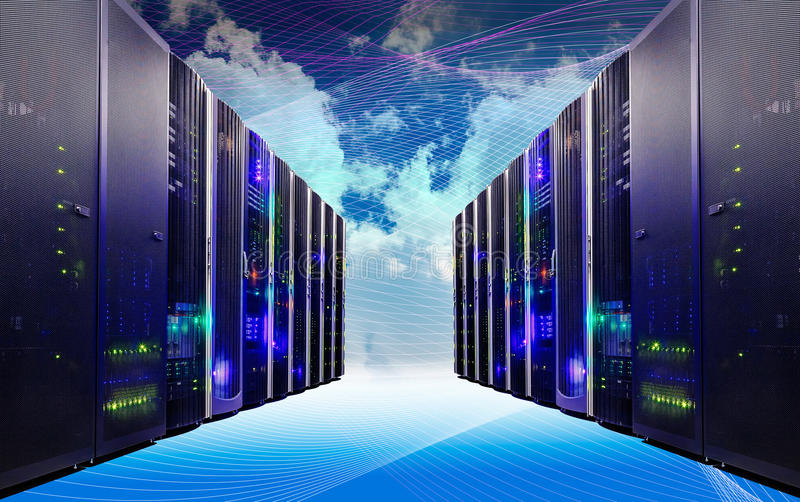 Cloud and sky overlay with servers computing technology in datacenter creative concept royalty free stock photos