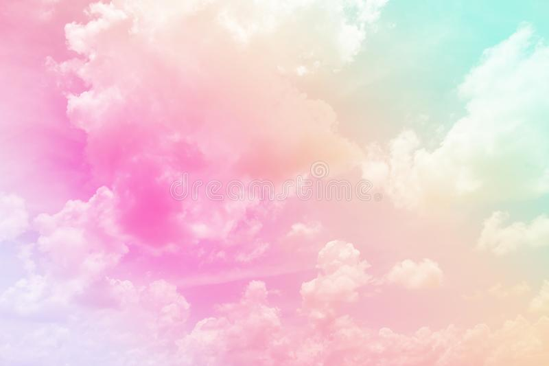 Cloud and sky with a pastel colored background. Fancy of Cloud and sky with a pastel colored for background royalty free stock image