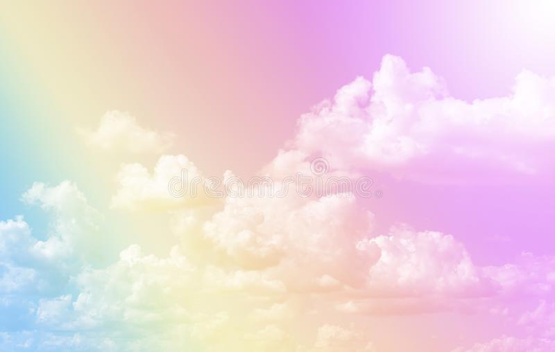 Cloud and sky with a pastel colored background.Fantasy magical sunny sky pastel background with colorful cloudy sky stock photos