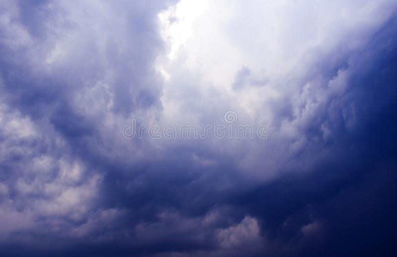 Cloud and Sky play with sunlight. Various types of cloud formations in the sky and coloring in different ways during sunset and sunrise royalty free stock photo