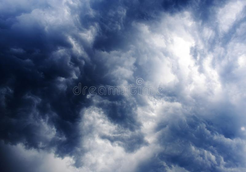 Cloud and Sky play with sunlight. Various types of cloud formations in the sky and coloring in different ways during sunset and sunrise royalty free stock photos