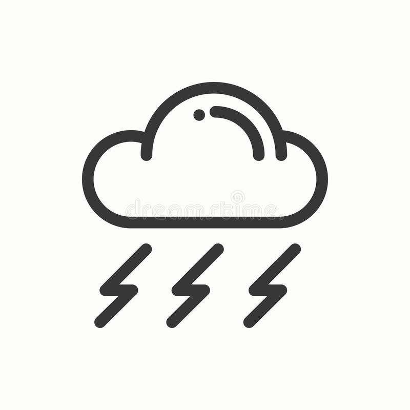 Cloud, sky, rain, storm line simple icon. Weather symbols. Meteorology. Forecast design element. Template for mobile app royalty free illustration