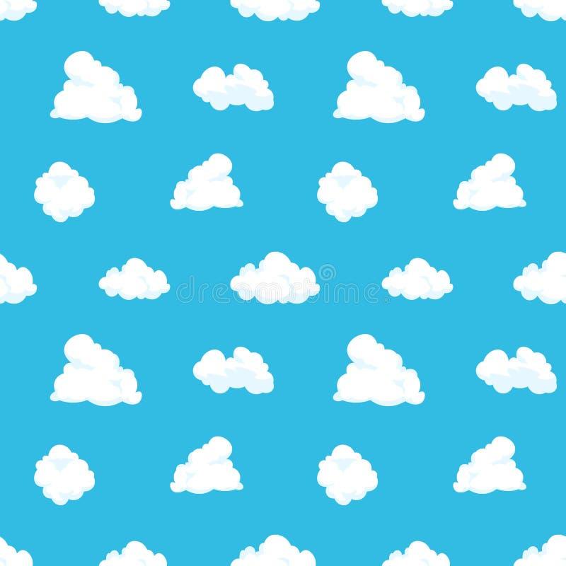 Cloud sky seamless pattern. Cartoon blue air landscape light summer kid background cloudy spring decoration. Vector royalty free illustration