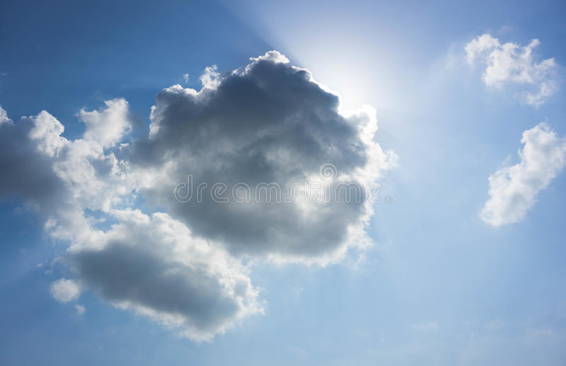 Cloud and Sky. Cloud and sun beam and blue sky stock photo