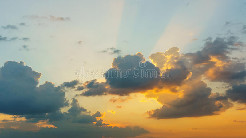 Cloud on sky at sunset.  stock images