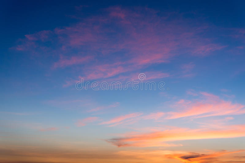 Cloud on sky at sunset. Blue and red color royalty free stock photo