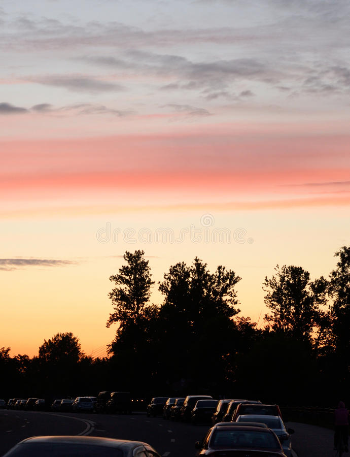 Cloud sky at sunset. Cloud sky at sunset over forest at evening royalty free stock images