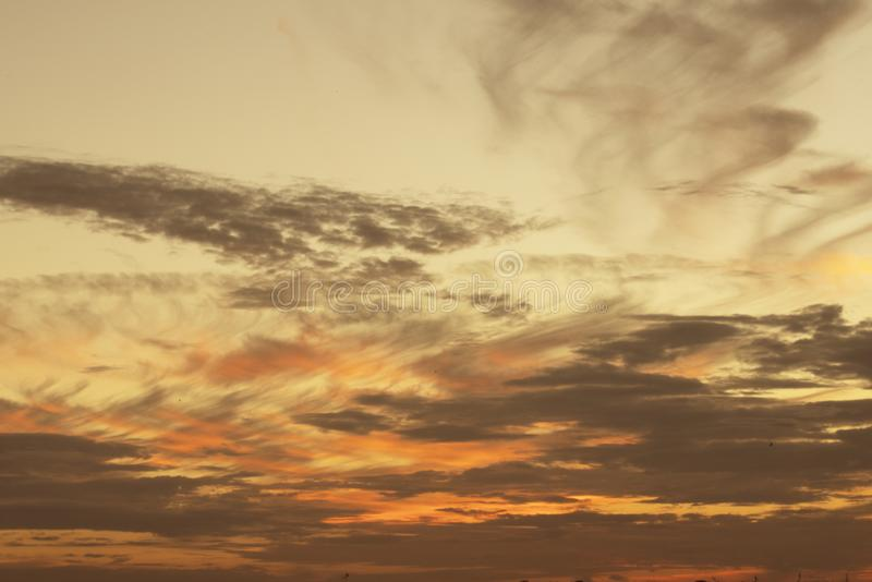 Cloud and sky. At sunset or sunrise royalty free stock photography