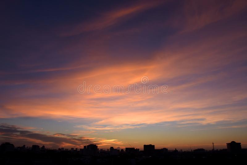 Cloud and sky in twilight time over the city royalty free stock photography