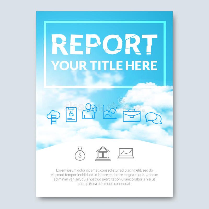 Cloud sky vector annual report cover brochure flyer magazine design layout mockup catalog template. vector illustration.  stock illustration
