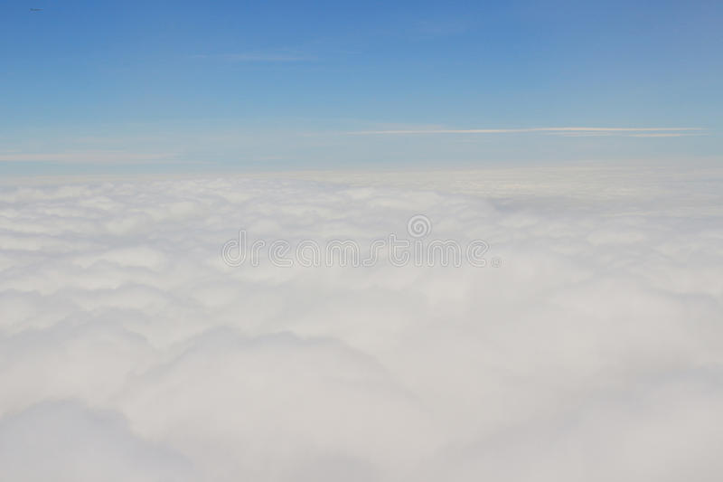 Cloud and sky view from a airplane stock photography