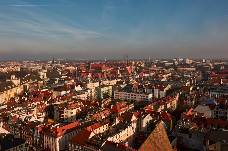 Cloud of smog over Wroclaw stock photo