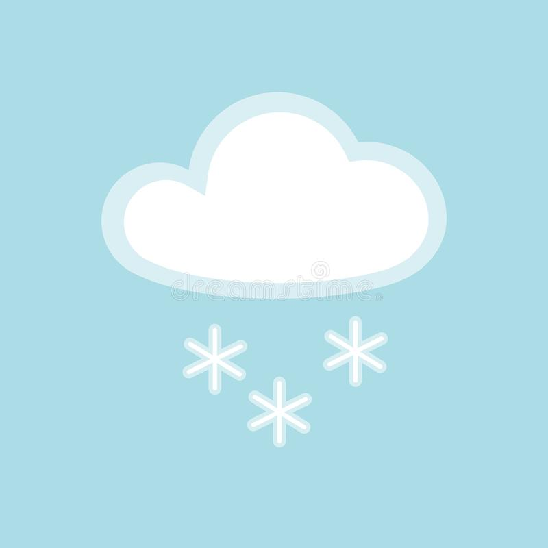 Cloud snow icon element simple app Isolated symbol on blue background Icon cloudy snowy cold weather Flat design element stock illustration