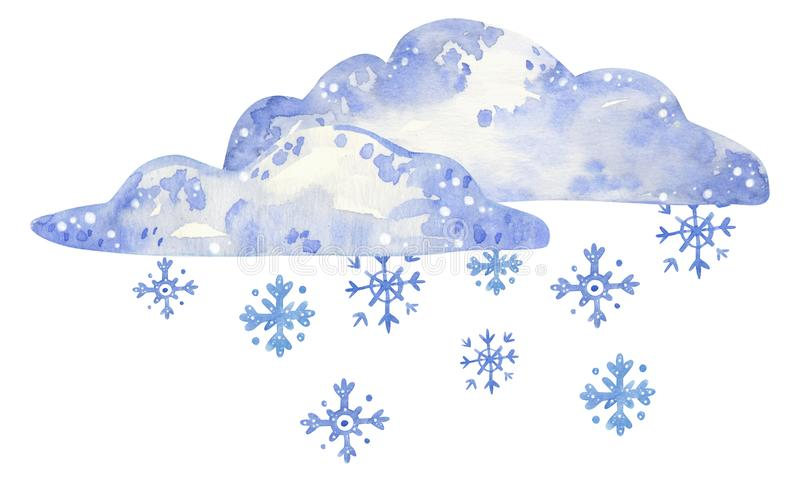 Cloud with snowflakes, hand drawn watercolor illustration vector illustration