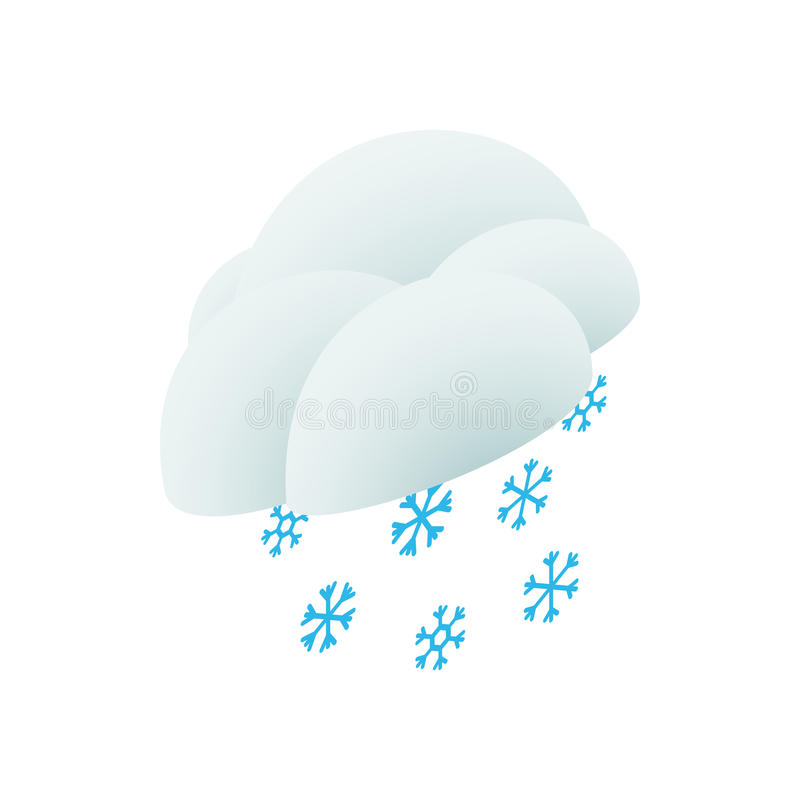 Cloud and snowflakes icon, isometric 3d style. Cloud and snowflakes icon in isometric 3d style on a white background stock illustration