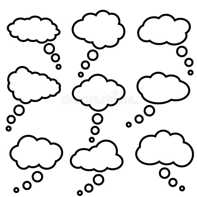 Cloud speech bubbles vector icons.  collection. Cloud speech bubbles Vector illustration set. stock illustration