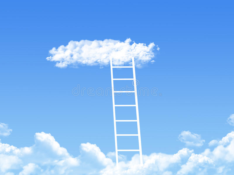 Cloud stair, the way to success. In blue sky stock illustration