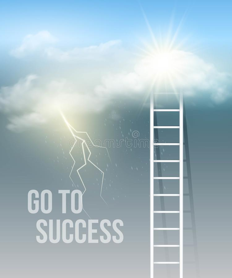 Cloud stair, the way to success in blue sky. Vector illustration EPS 10 royalty free illustration