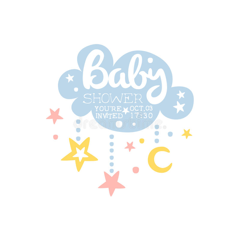 Cloud And Stars Baby Shower Invitation Design Template Stock Vector ...
