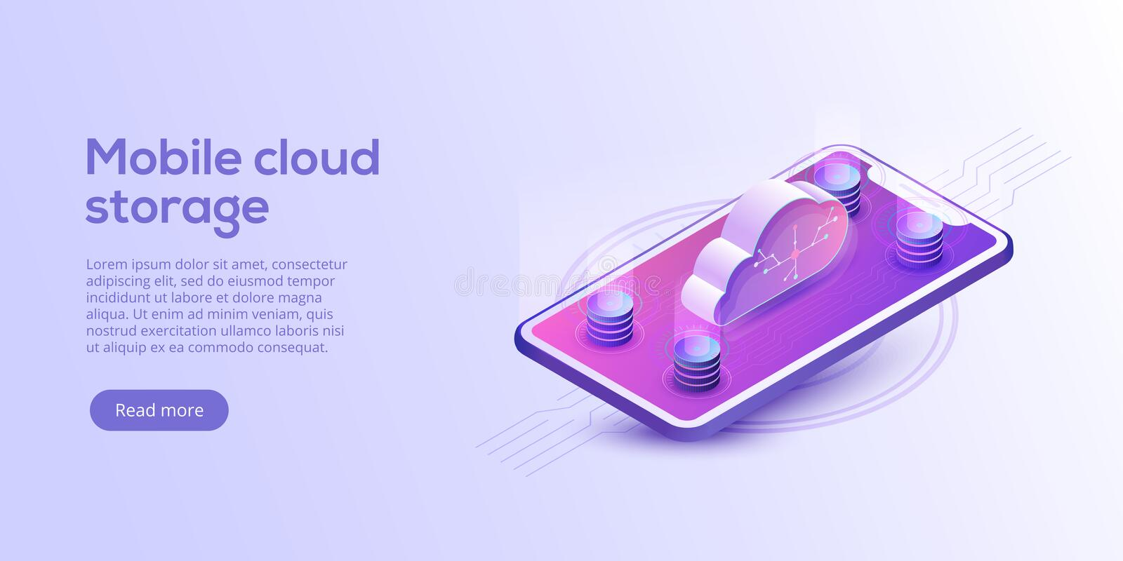 Cloud storage with cellphone isometric vector illustration. Mobile gadget service or app with data transfering. Online computing. Cloud storage and cellphone vector illustration