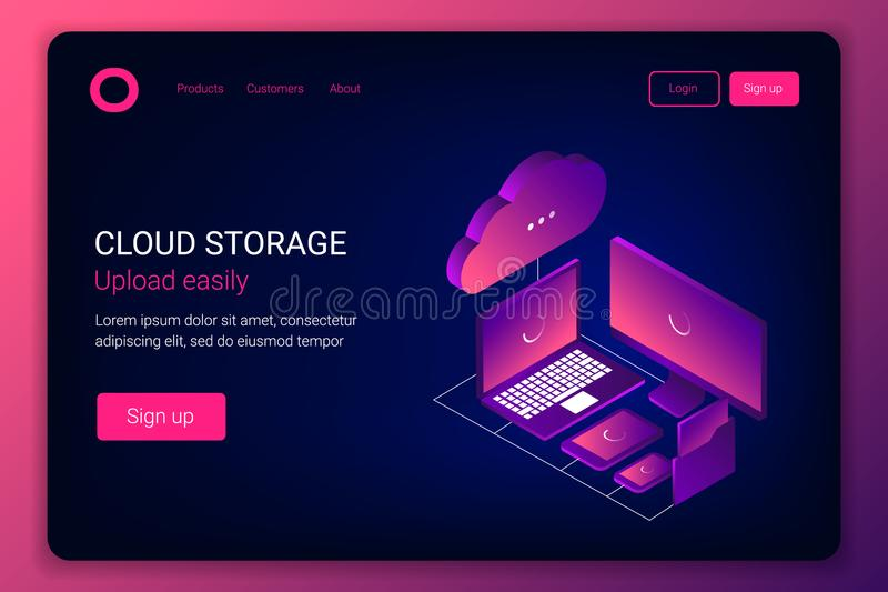 Cloud storage 3d isometric technology concept. Laptop, noutbook, folder with documents, tablet and smartphone transmit data to the cloud. Trendy gradient royalty free illustration