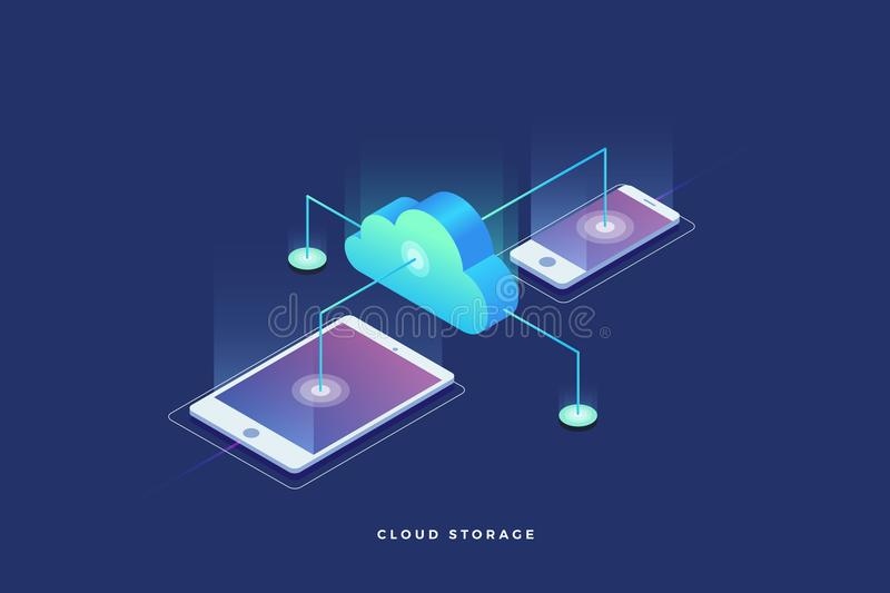 Cloud storage, data transfers on Internet from gadget to gadget. 3d isometric flat design. Vector illustration royalty free illustration
