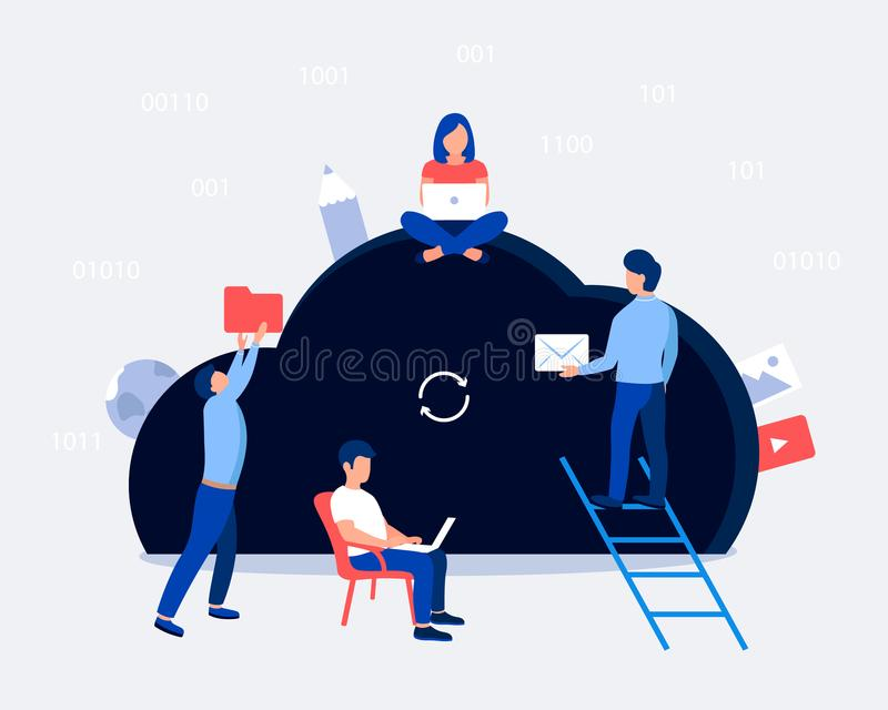 Cloud storage design concept. Small people keep file in cloud shaped room. Trendy flat style. Vector illustration stock illustration