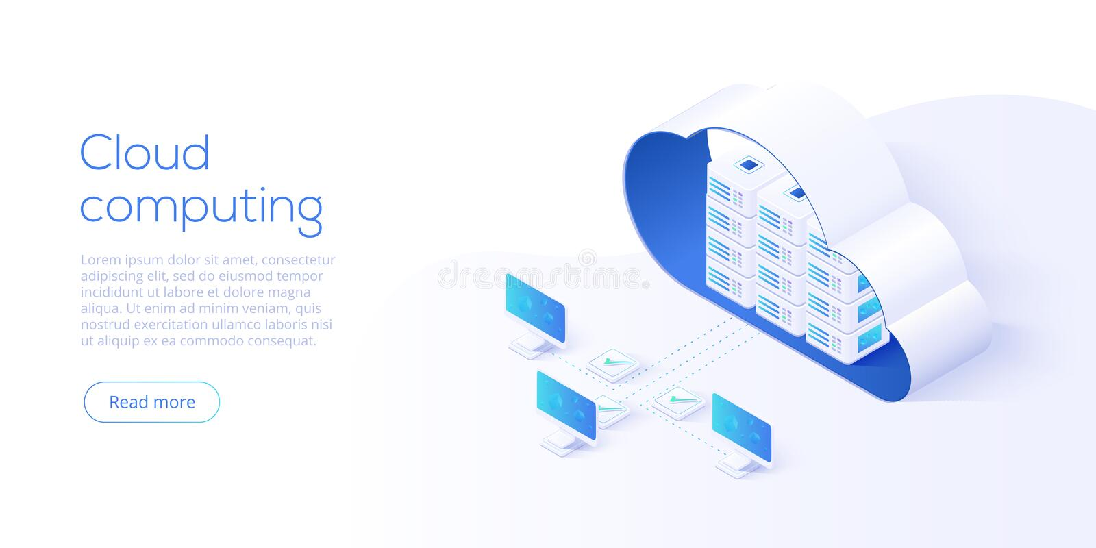 Cloud storage download isometric vector illustration. Digital se. Rvice or app with data transfering. Online computing technology. 3d servers and datacenter royalty free illustration